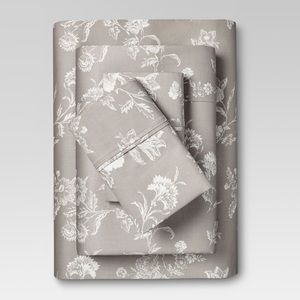Threshold floral gray king sheet set 400 thread
